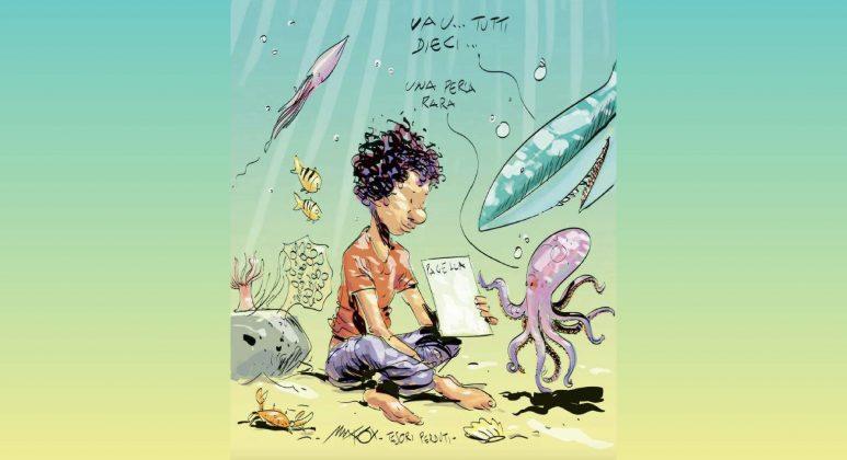 bambino annegato con la pagella cucita in tasca vignetta Makkox