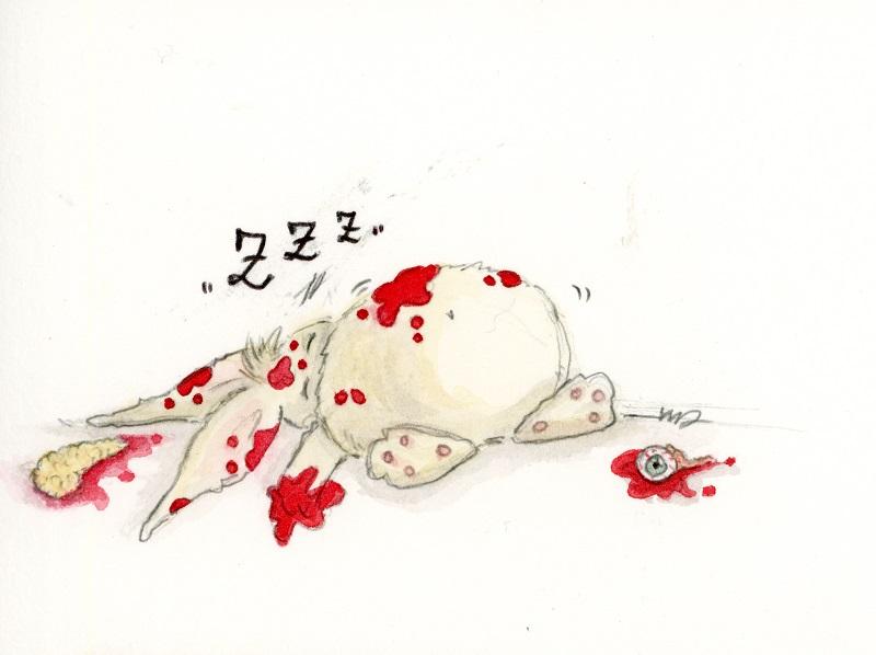 Il coniglietto dorme dopo la carneficina. Illustrazione di Noemi Drogo.