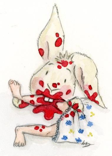 ...poi eccitato dall'emoglobina, salì sbranandole una gambina. Illustrazione di Noemi Drogo.