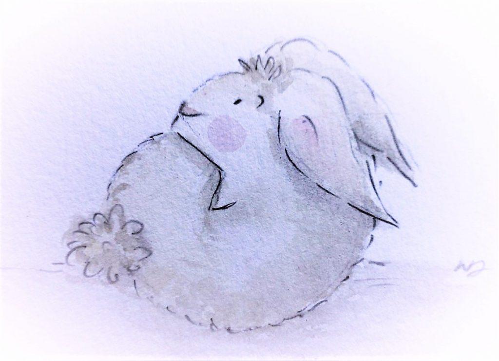 Il coniglio Rosicchione intento a mangiare se stesso. Illustrazione di Noemi Drogo.