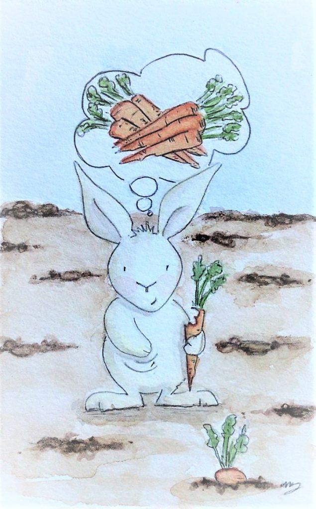 Il coniglietto ha una carota, ma ne vorrebbe molte di più. Illustrazione di Noemi Drogo.